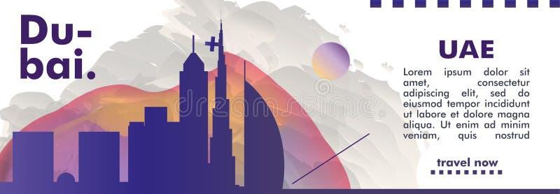 De V.A.E Verenigde Arabische van de de horizonstad van Doubai van Emiraten de gradiënt vectorweb royalty-vrije illustratie