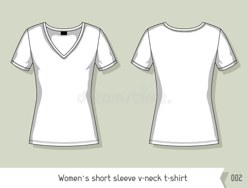 De v-hals van de vrouwen korte koker t-shirt Malplaatje voor ontwerp, gemakkelijk editable door lagen stock illustratie