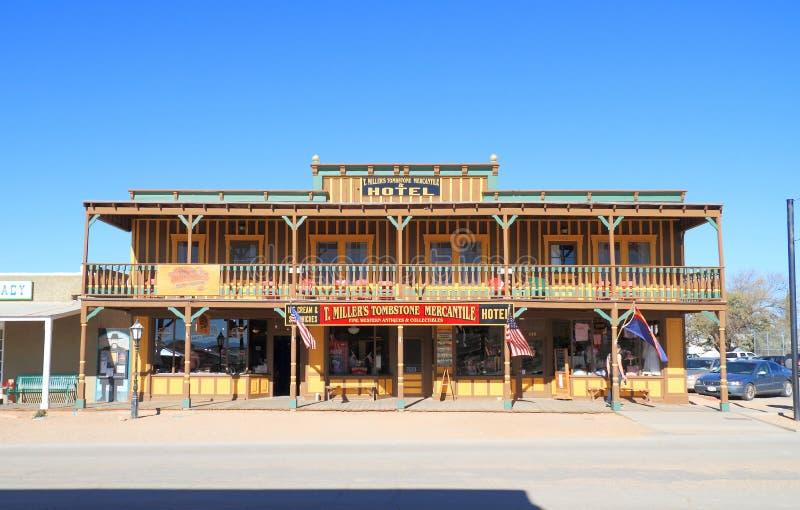 De V.S., Arizona/Grafsteen: Historische Hotel en Opslag stock foto's
