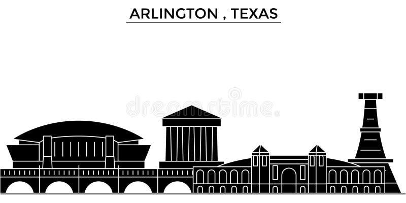 De V.S., Arlington, horizon van de de architectuur de vectorstad van Texas, reiscityscape met oriëntatiepunten, gebouwen, isoleer stock illustratie