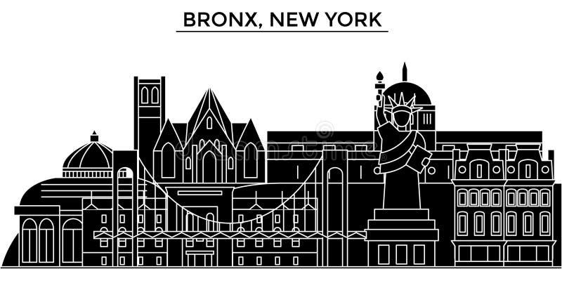 De V.S., Bronx, horizon van de de architectuur de vectorstad van New York, reiscityscape met oriëntatiepunten, gebouwen, isoleerd royalty-vrije illustratie