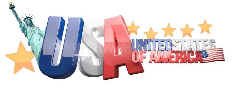 De V.S. 3D de Verenigde Staten van Amerika geven terug royalty-vrije illustratie