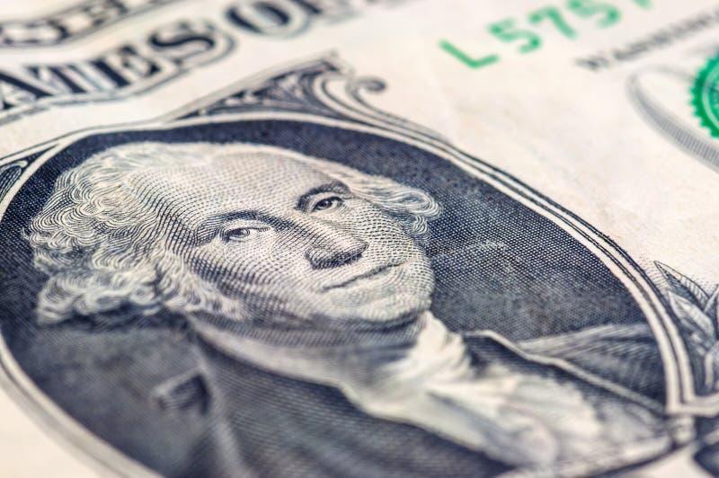 De V.S. de close-upmacro van de één dollarrekening, 1 usd bankbiljet, George Washing stock afbeelding