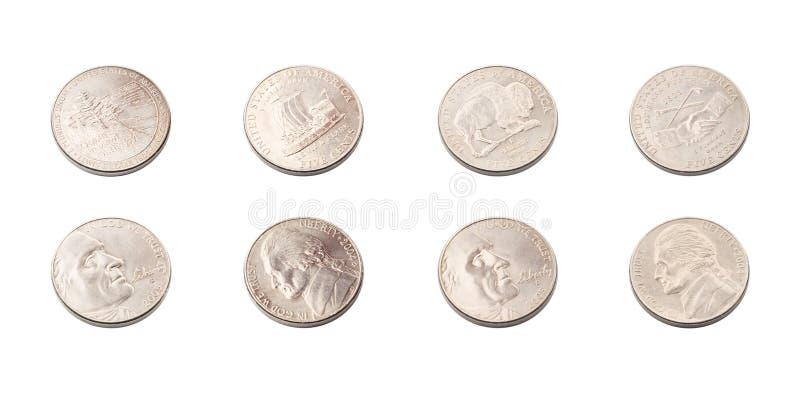 De V.S. de inzameling van vijf centenmuntstukken stock fotografie