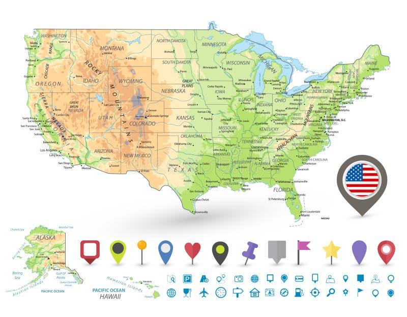 De V.S. detailleerden fysieke kaart en navigatiepictogrammen royalty-vrije illustratie