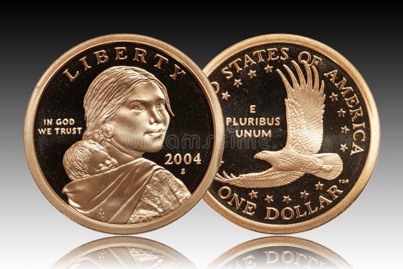 De V.S. de gradiëntachtergrond van het Één Dollarmuntstuk stock foto's