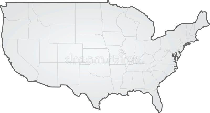 De V.S. de grenskaart van staten stock illustratie