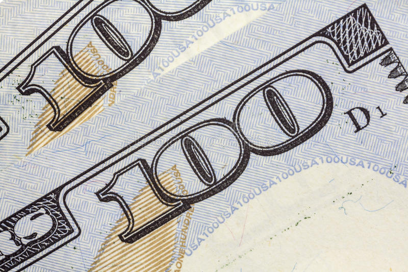 De V.S. Honderd Dollar Bill Macro Closeup stock afbeeldingen