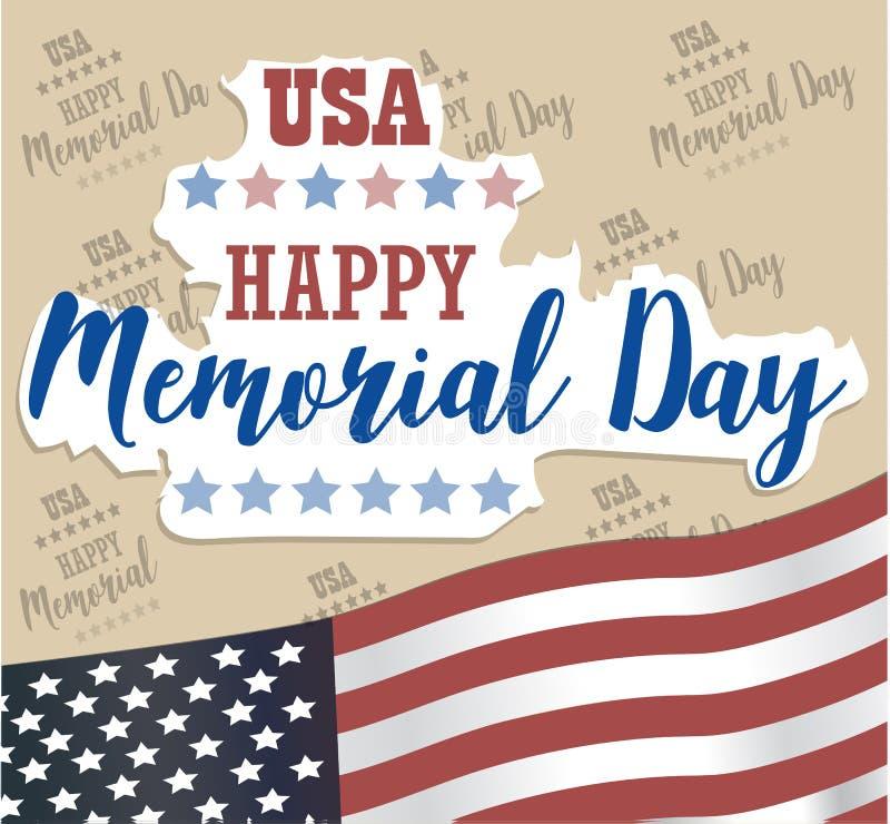 De V.S. Memorial Day Vector Gelukkige Memorial Day -kaart stock illustratie