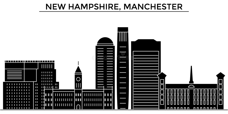 De V.S., New Hampshire, horizon van de de architectuur de vectorstad van Manchester, reiscityscape met oriëntatiepunten, geïsolee stock illustratie