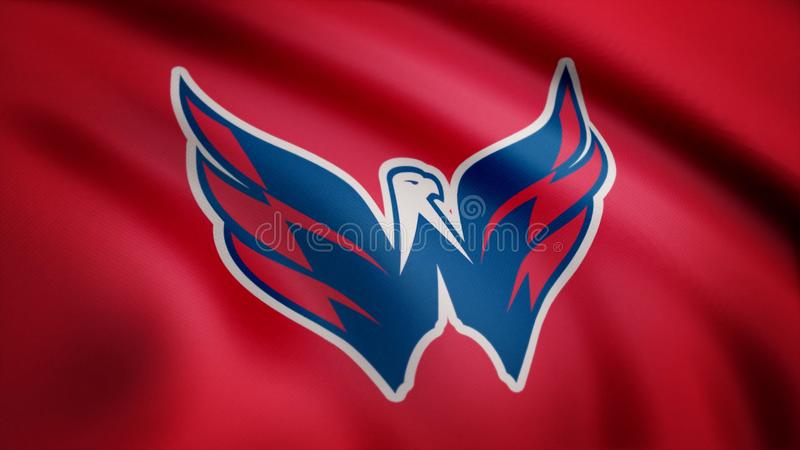 De V.S. - NEW YORK, 12 Augustus 2018: Golvende vlag met het embleem van het het hockeyteam van Washington Capitals NHL Close-up v royalty-vrije stock foto's