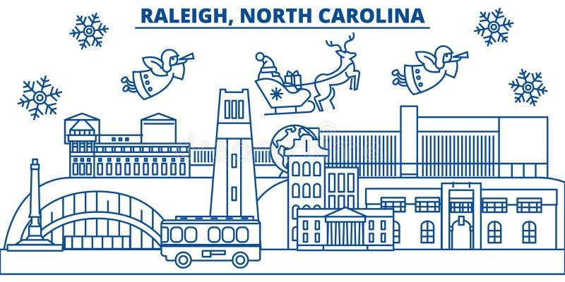 De V.S., Noord-Carolina, Raleigh-de horizon van de de winterstad Vrolijke Kerstmis en Gelukkige Nieuwjaar verfraaide banner de wi vector illustratie