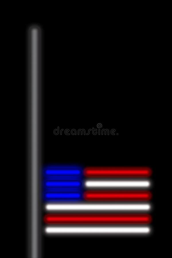 De V.S., 2 Oktober 2017 - President Trump ordenvlaggen bij helft-mast na het schieten van Las Vegas vector illustratie