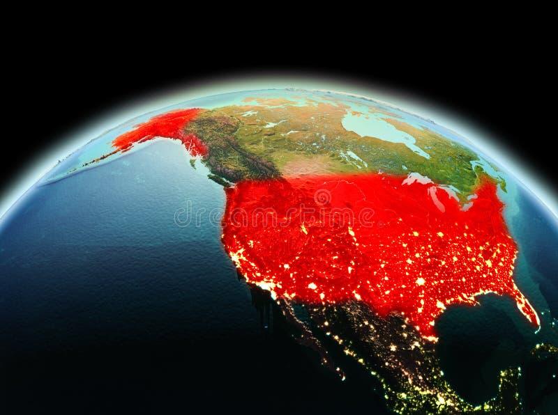 De V.S. op aarde in ruimte royalty-vrije illustratie