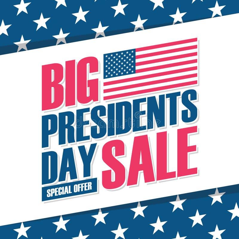 De V.S. Presidenten Day Big Sale speciale aanbiedingachtergrond met de nationale vlag van Verenigde Staten voor zaken, bevorderin vector illustratie