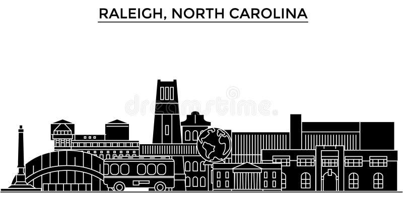 De V.S., Raleigh, horizon van de de architectuur de vectorstad van Noord-Carolina royalty-vrije illustratie