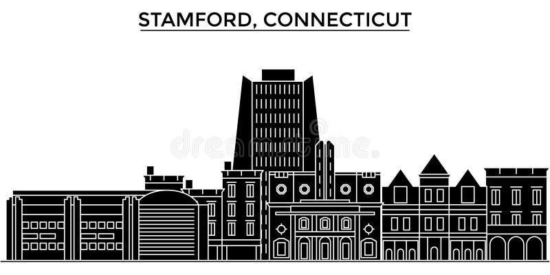 De V.S., Stamford, horizon van de de architectuur de vectorstad van Connecticut, reiscityscape met oriëntatiepunten, gebouwen, is vector illustratie