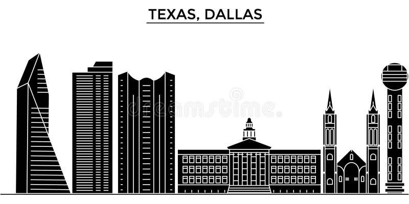 De V.S., Texas Dallas-horizon van de architectuur de vectorstad, reiscityscape met oriëntatiepunten, gebouwen, isoleerden gezicht stock illustratie