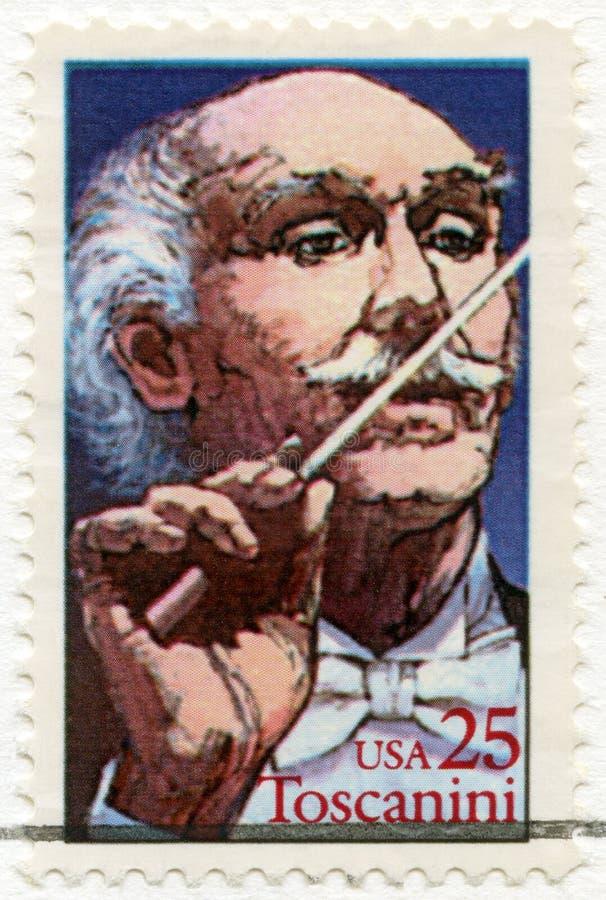 De V.S. - 1989: toont Arturo Toscanini 1867-1975, Italiaanse Leider royalty-vrije stock afbeeldingen