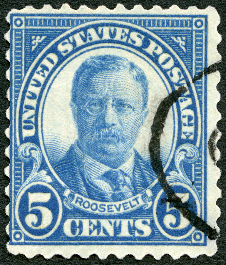 De V.S. - 1920: toont portret van President Theodore Roosevelt (1858-1919), 26ste President van de V.S. royalty-vrije stock afbeelding