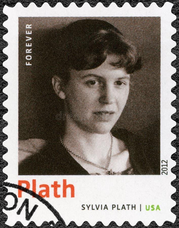 De V.S. - 2012: toont Sylvia Plath 1932-1963, Amerikaanse dichter, romanschrijver, en novelleschrijver, de Laureaat van reeksnobe royalty-vrije stock afbeeldingen