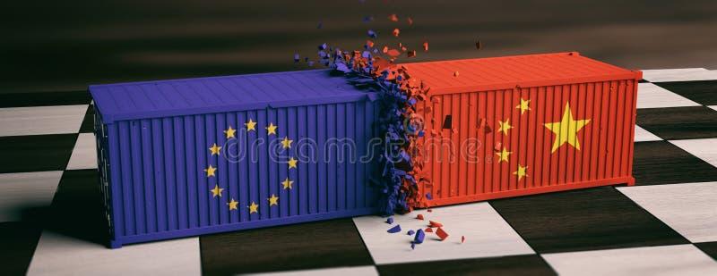 De V.S. van de Europese Unie van Amerika en vlaggen verpletterde containers op schaakbord 3D Illustratie royalty-vrije illustratie