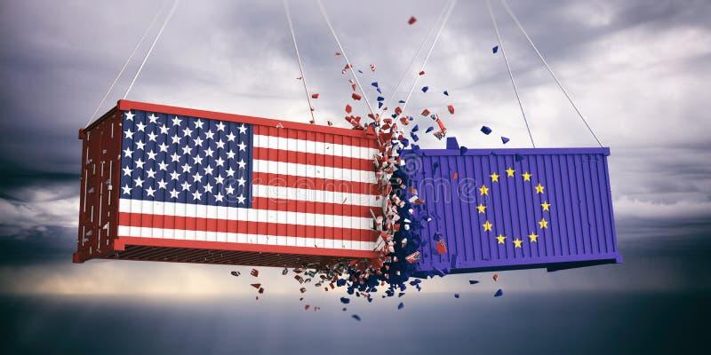 De V.S. van de Europese Unie van Amerika en vlaggen verpletterden containers op blauwe bewolkte hemelachtergrond 3D Illustratie royalty-vrije illustratie