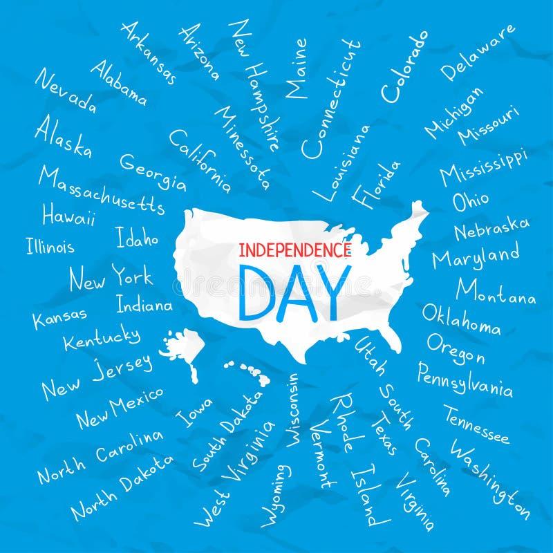 De V.S. verklaren de vectorillustratie van de onafhankelijkheidsdag vector illustratie