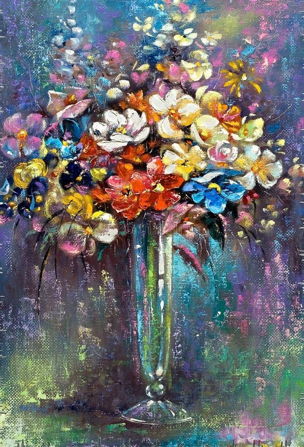 De vaas van het glas met bloemen stock illustratie