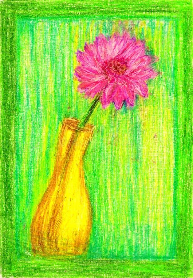 De vaas van het kleurenpotlood met bloem royalty-vrije stock foto