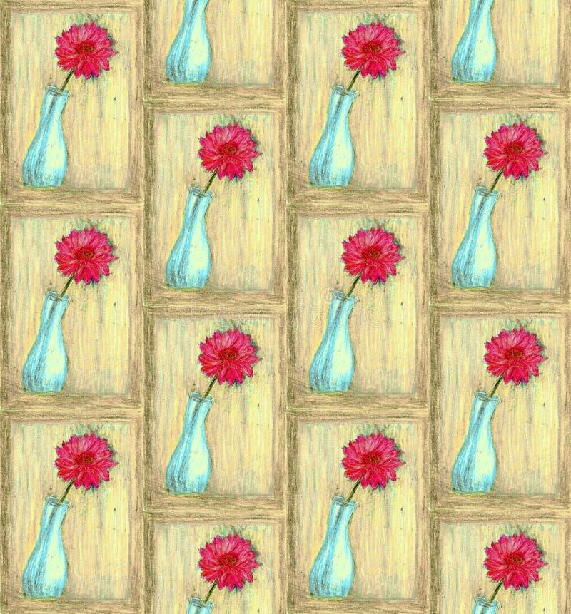De vaas van het kleurenpotlood met bloem royalty-vrije stock fotografie