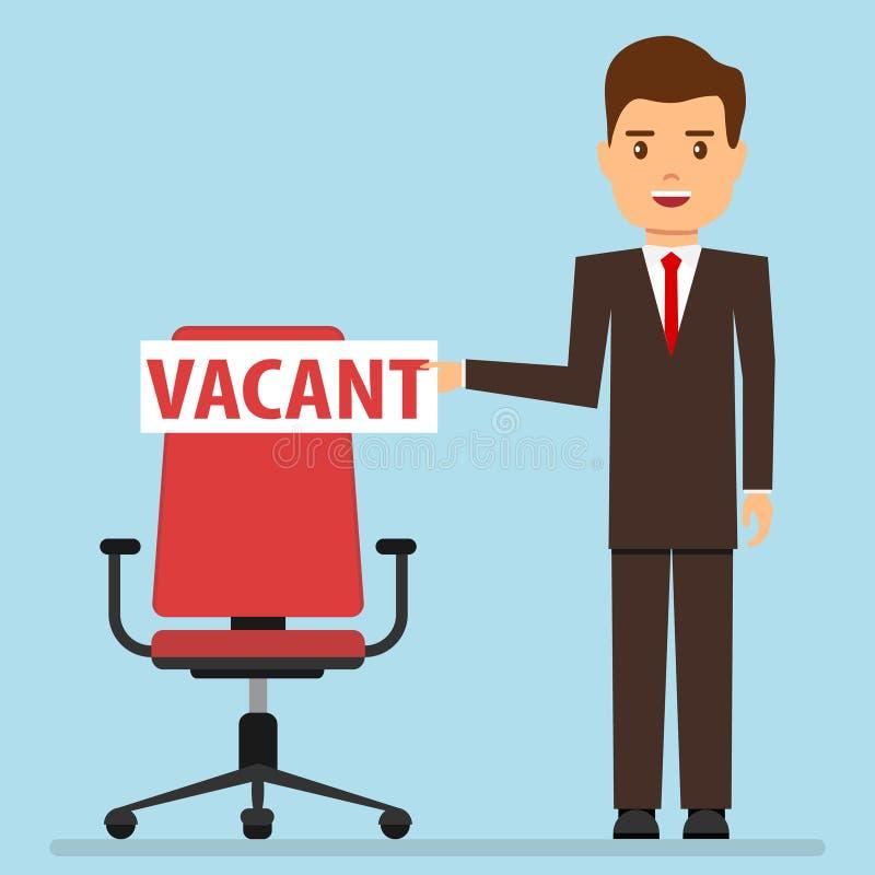 De vacature, een zakenman verschijnt op een stoel met een vacature Zoek naar een werknemer royalty-vrije illustratie