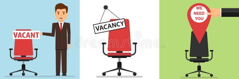 De vacature, een zakenman verschijnt op een stoel met een vacature Zoek naar een werknemer stock illustratie