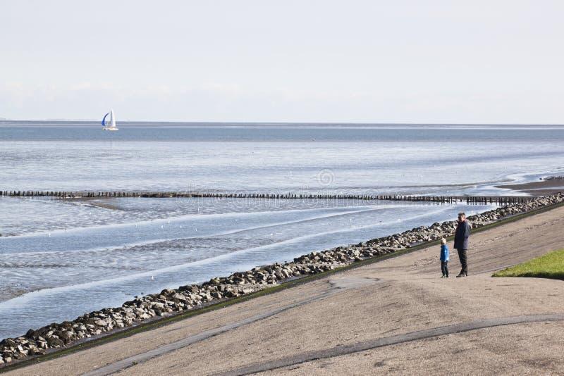 De vader en het kind kijken over Nederlandse Waddenzee stock afbeeldingen