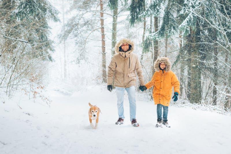 De vader en de zoon kleedden zich in de Warme Toevallige Bovenkleding Met een kap van het Parkajasje lopend in sneeuwbos met zijn stock afbeelding