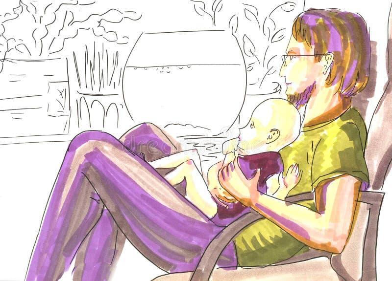 De vader met baby, hand schilderde tellersportret in zachte kleuren op silhouetachtergrond royalty-vrije illustratie