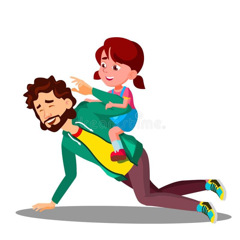 De vader Rolling On His steunt een Kleine Dochtervector Geïsoleerdeo illustratie stock illustratie