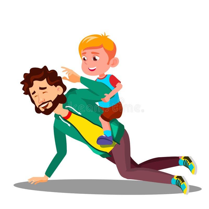 De vader Rolling On His steunt een Kleine Zoonsvector Geïsoleerdeo illustratie stock illustratie