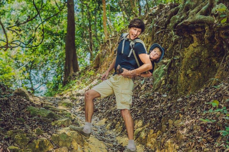 De vader vervoert zijn zoon in baby het dragen wandelt in F stock foto's