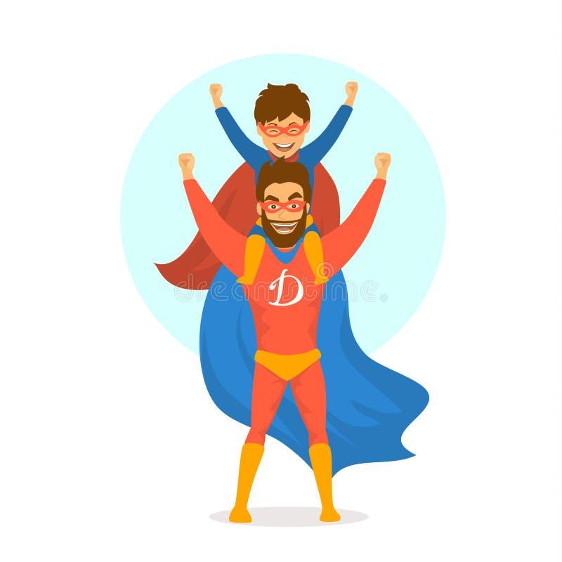 De vadersdag isoleerde vector de pretscène van het illustratiebeeldverhaal met papa en de zoon kleedde zich in superherokostuums royalty-vrije illustratie