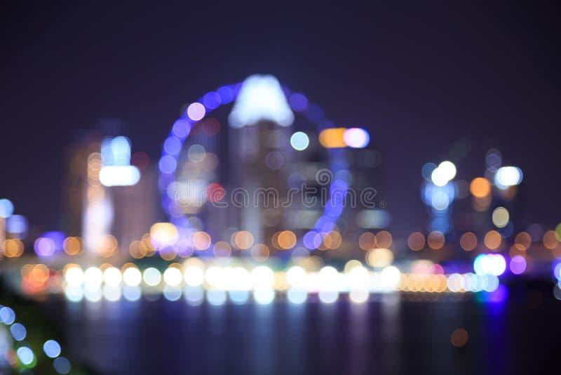 De vage achtergrond van stadslichten bokeh stock afbeelding