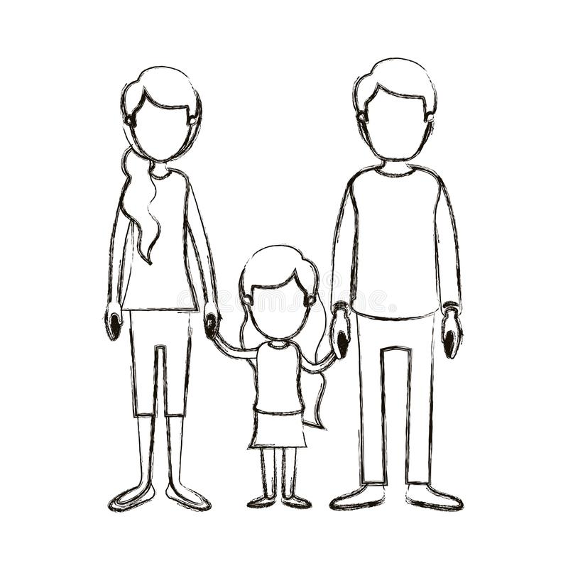 De vage anonieme familie van de silhouetkarikatuur met jong vader en mamma met zijpaardestaarthaar met genomen meisje royalty-vrije illustratie