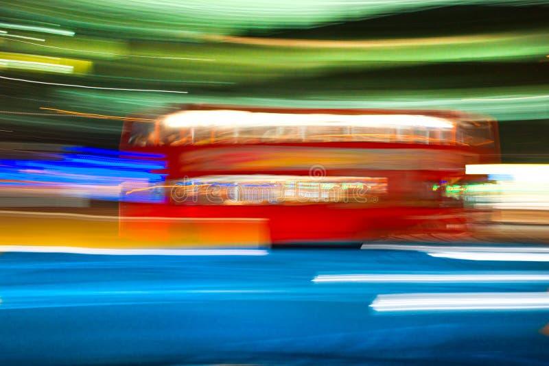 De vage bus van de motiedubbeldekker, Londen, het UK. stock afbeeldingen