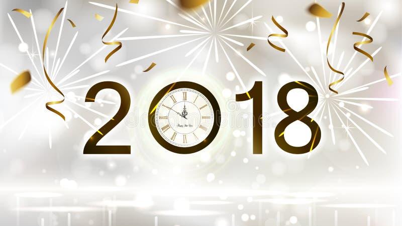 De vakantie glanst lichte Achtergrond met gouden confettien, vuurwerk en feestelijke datum Nieuwjaarmiddernacht op de Klok vector illustratie