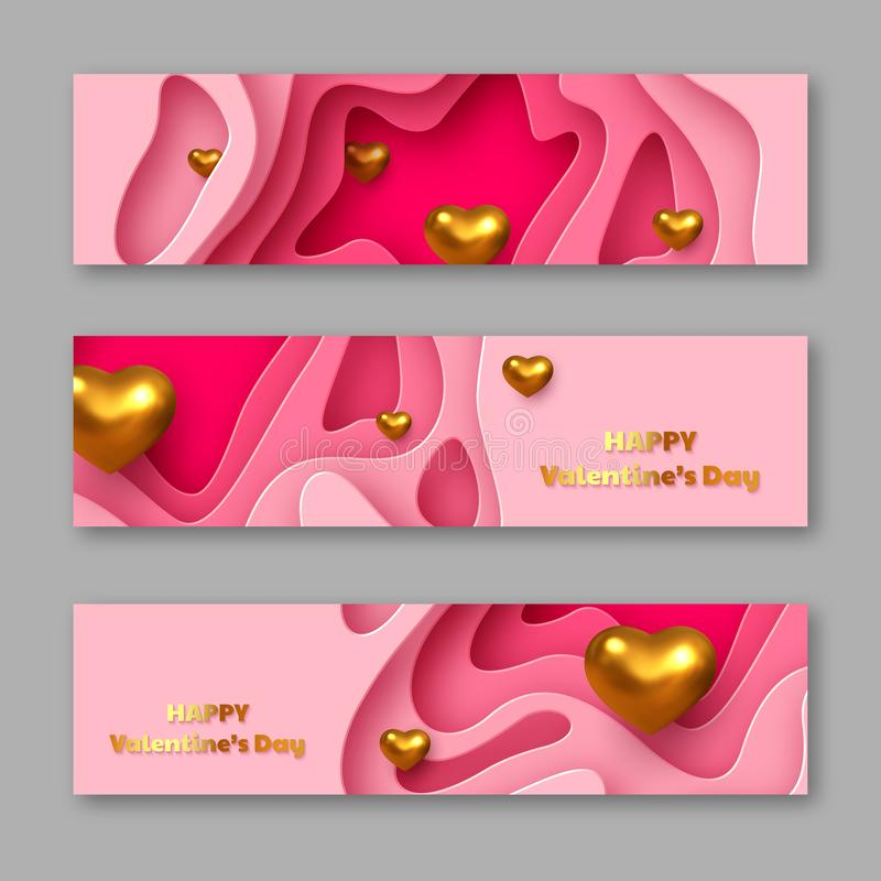 De vakantie horizontale stickers van de valentijnskaartendag stock illustratie