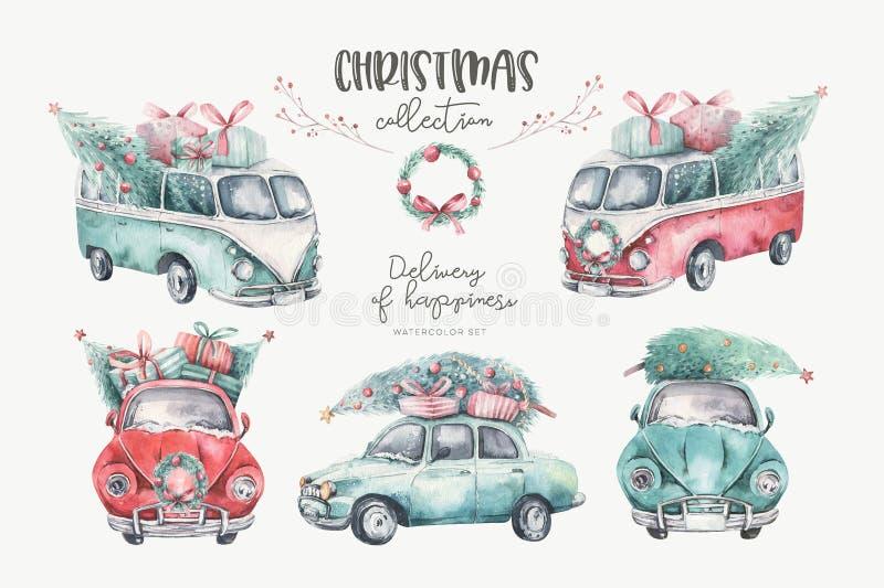 De vakantie naadloos patroon van waterverfkerstmis met rode en groene vervoersillustratie De vrolijke Kerstmis autowinter stock fotografie