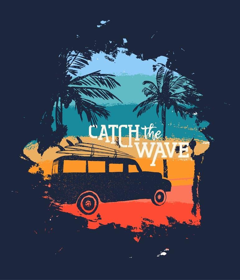 Download De Vakantie Uitstekend Ontwerp Van Het Surferstrand Met Citaat Vector Illustratie - Illustratie bestaande uit openlucht, silhouet: 114226223