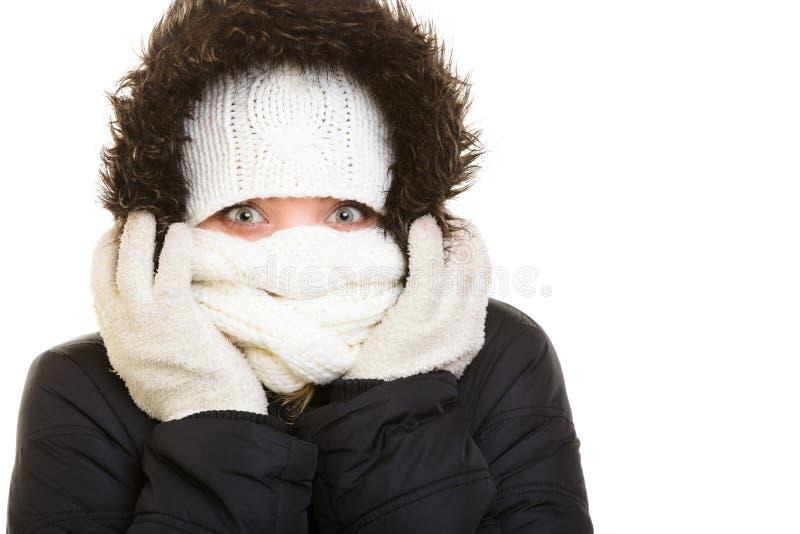 De vakantie van de winter Meisje die gezicht behandelen met sjaal stock fotografie