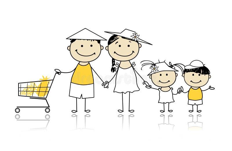 De vakantie van de zomer. Gelukkige familie met het winkelen mand stock illustratie