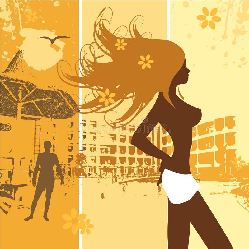 De vakantie van de zomer, mooie vrouw, strand stock illustratie